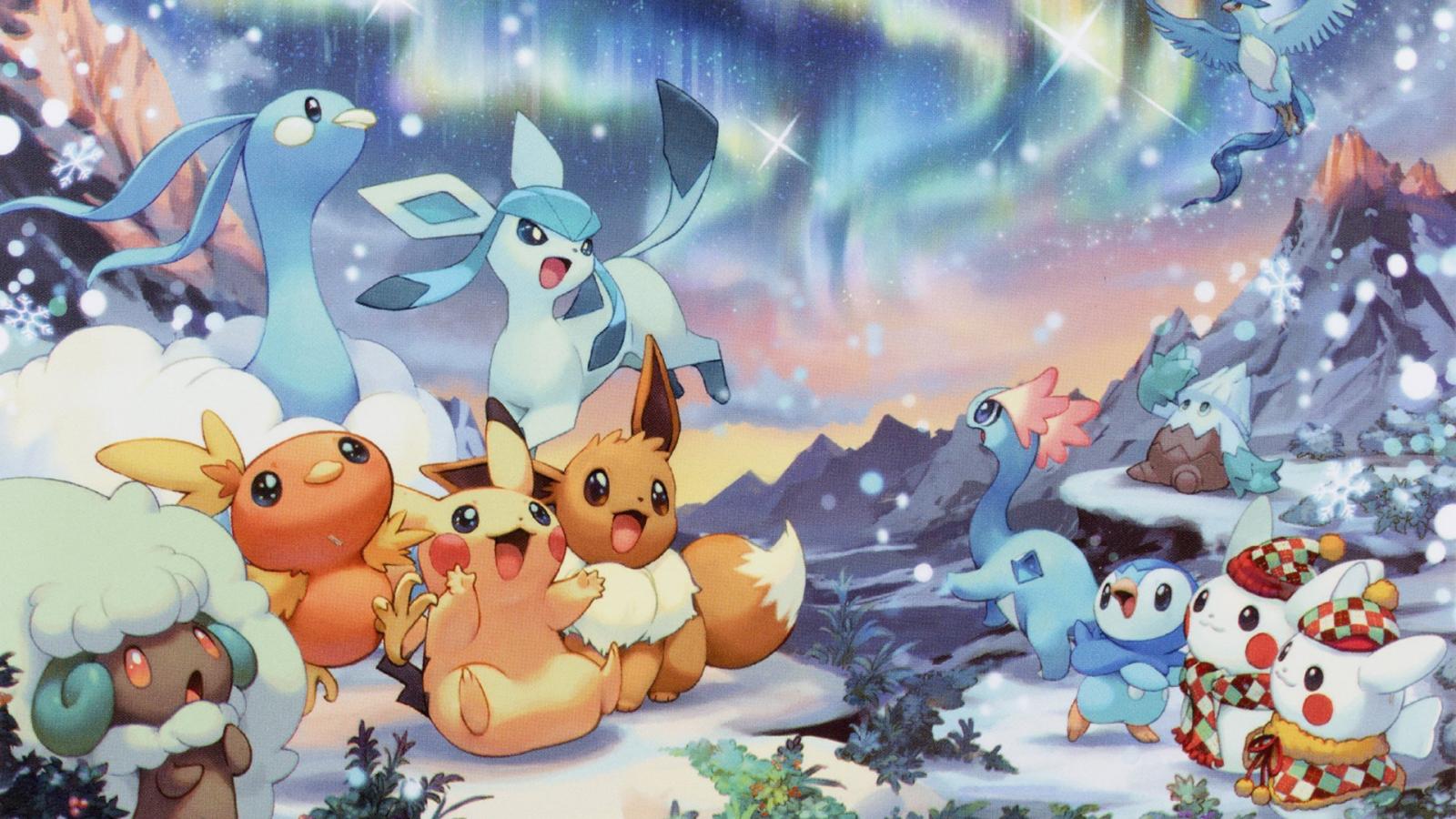 Fond D écran Vacances De Noël: Fond D'écran : Illustration, Anime, Dessin Animé, Pok Mon