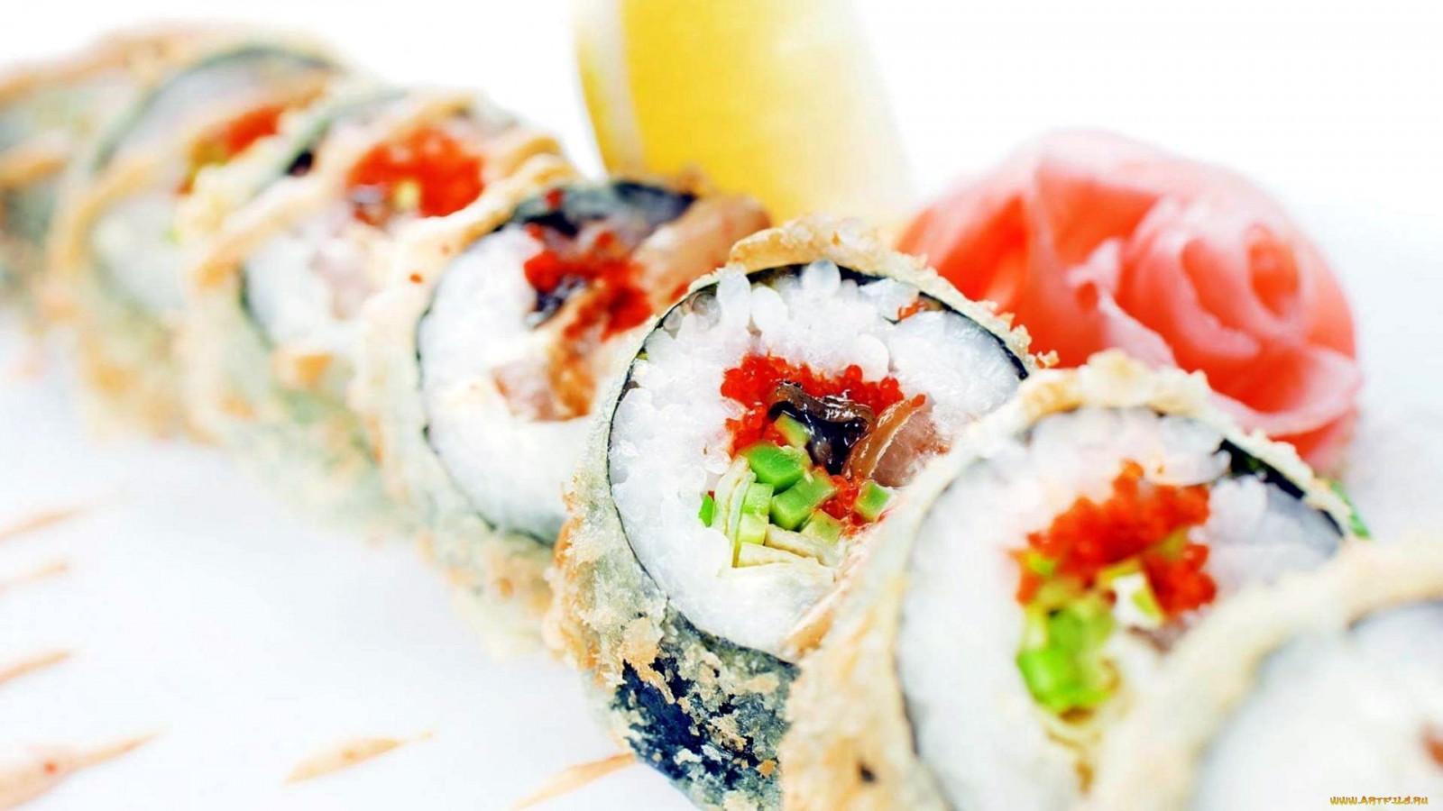 Wallpaper Ikan Makanan Laut Sushi Makan Lezat Gulungan