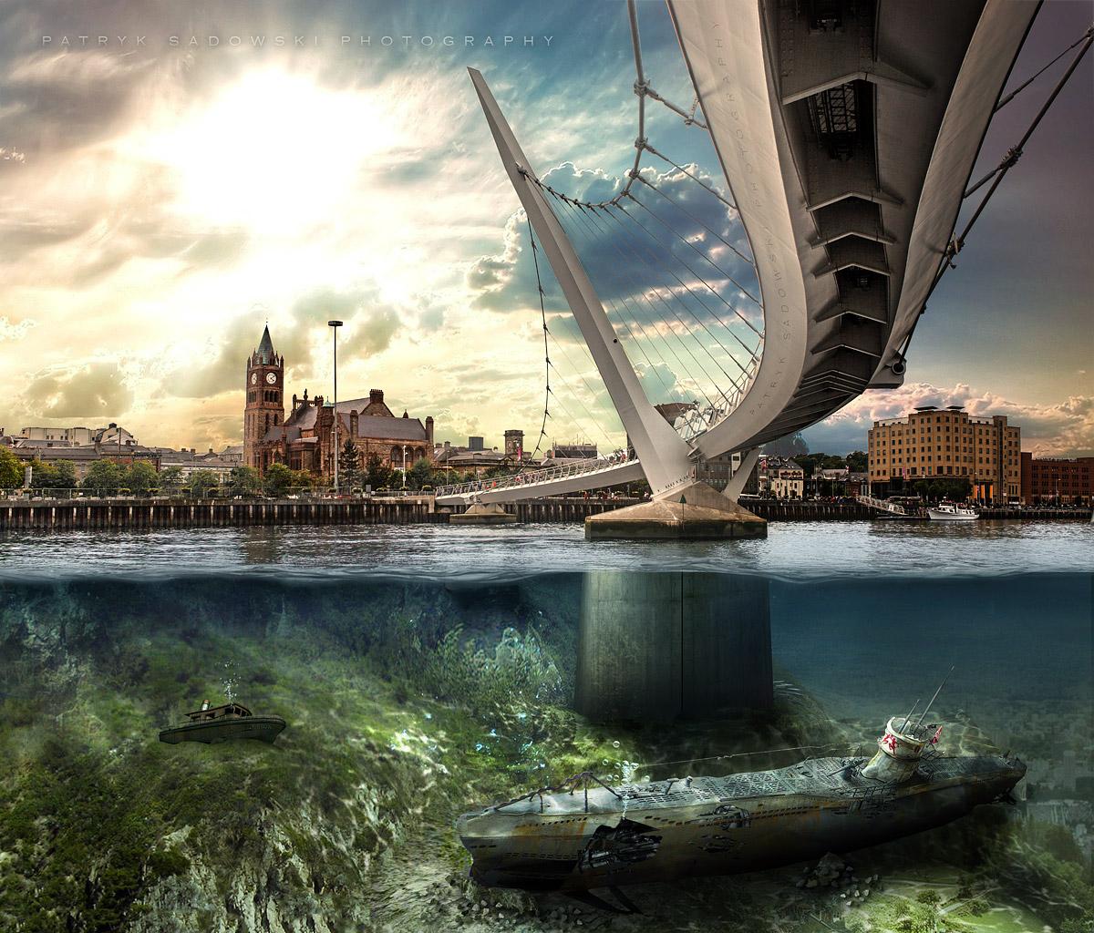 landscape sea city cityscape water reflection sky skyline wreck bridge river underwater horizon Ireland metropolis peace