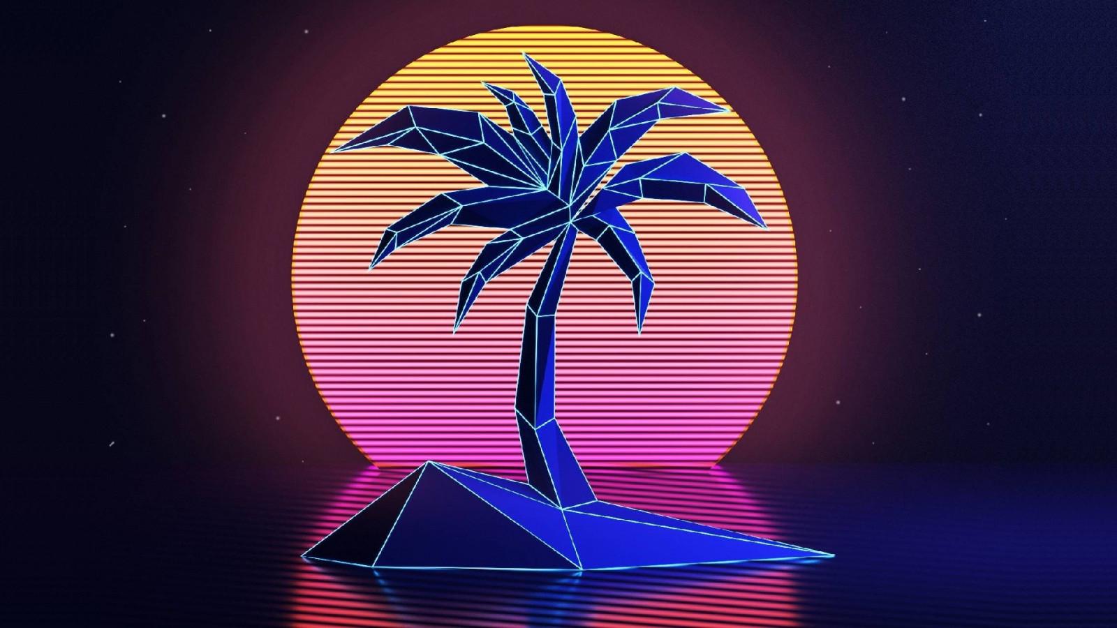 Wallpaper : sunset, neon, graphic design, palm trees ...