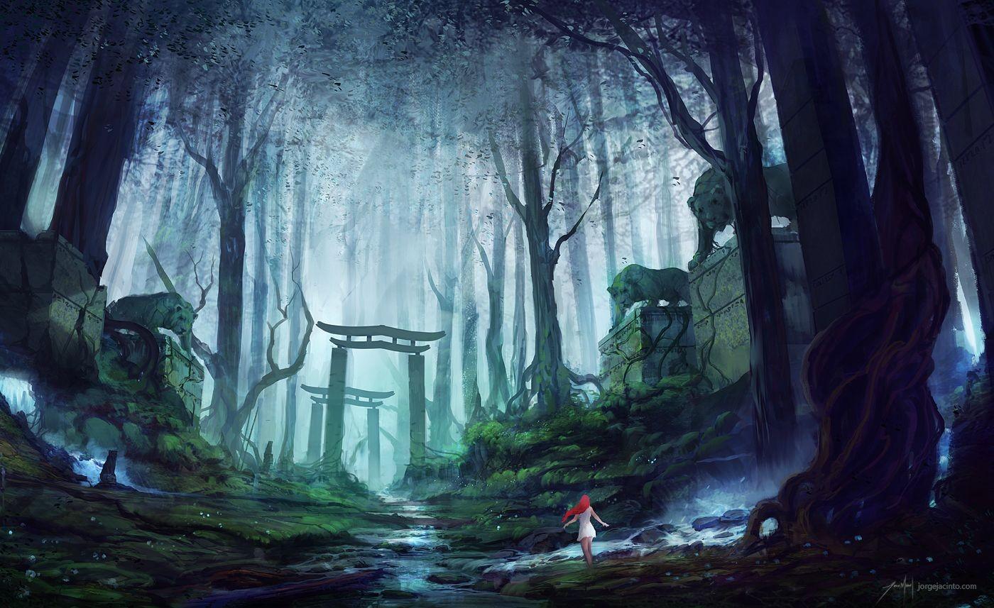 A Lenda do Herói! Anime_anime_girls_redhead_trees_forest-53060