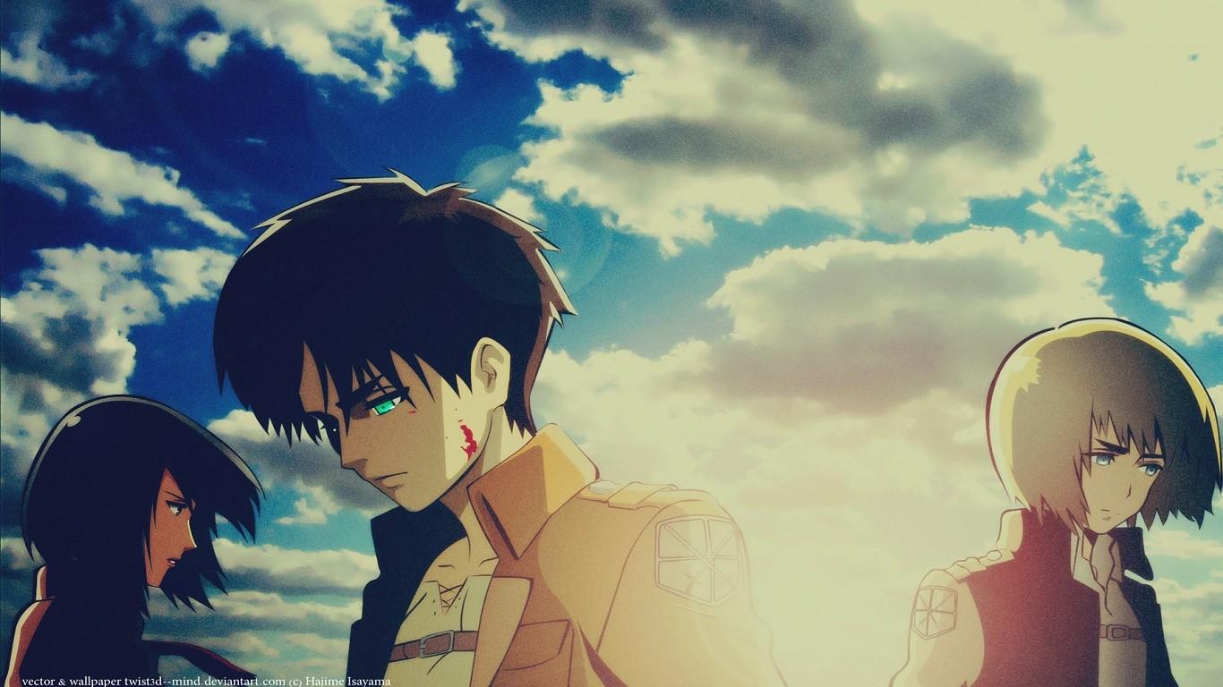 Wallpaper Illustration Anime Shingeki No Kyojin Eren Jeager Mikasa Ackerman Armin Arlert Romance Screenshot Mangaka Interaction 1366x768 Sergiucoj 89558 Hd Wallpapers Wallhere