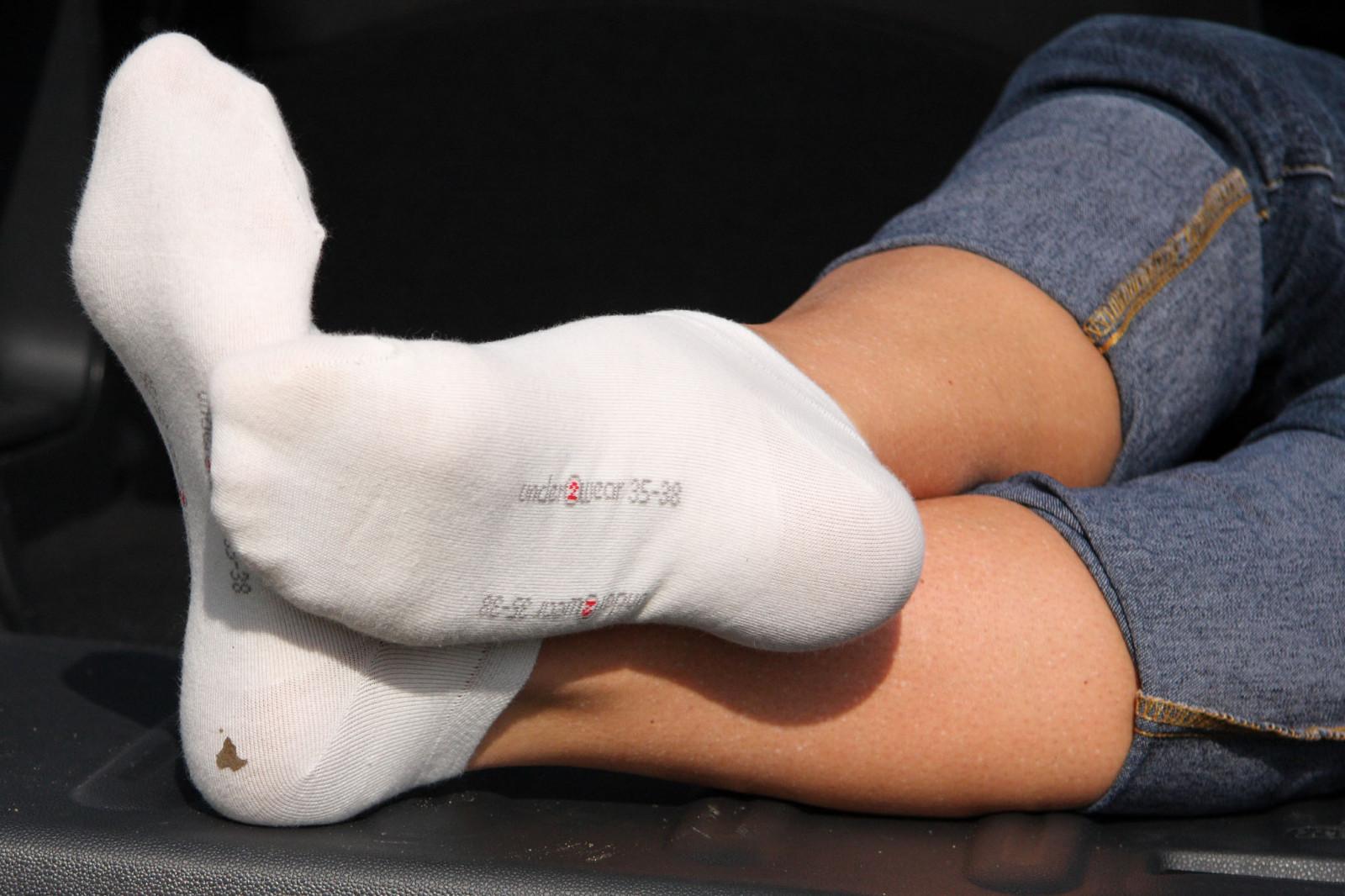 Socks footjob