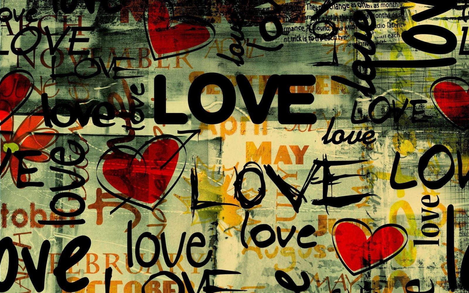 Illustration love heart typography graffiti art design modern art font
