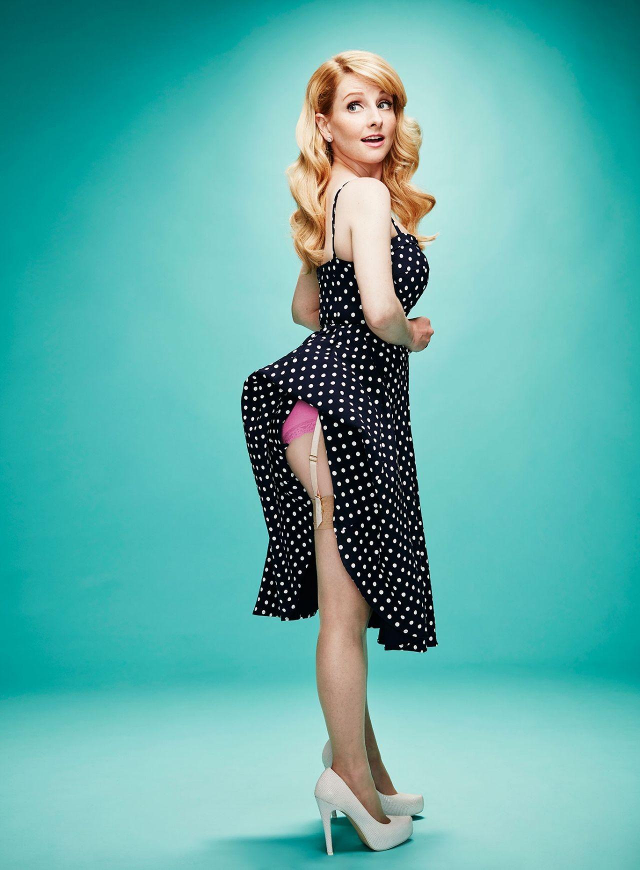 Wallpaper Melissa Rauch Actress Blonde Green Eyes Polka Dots
