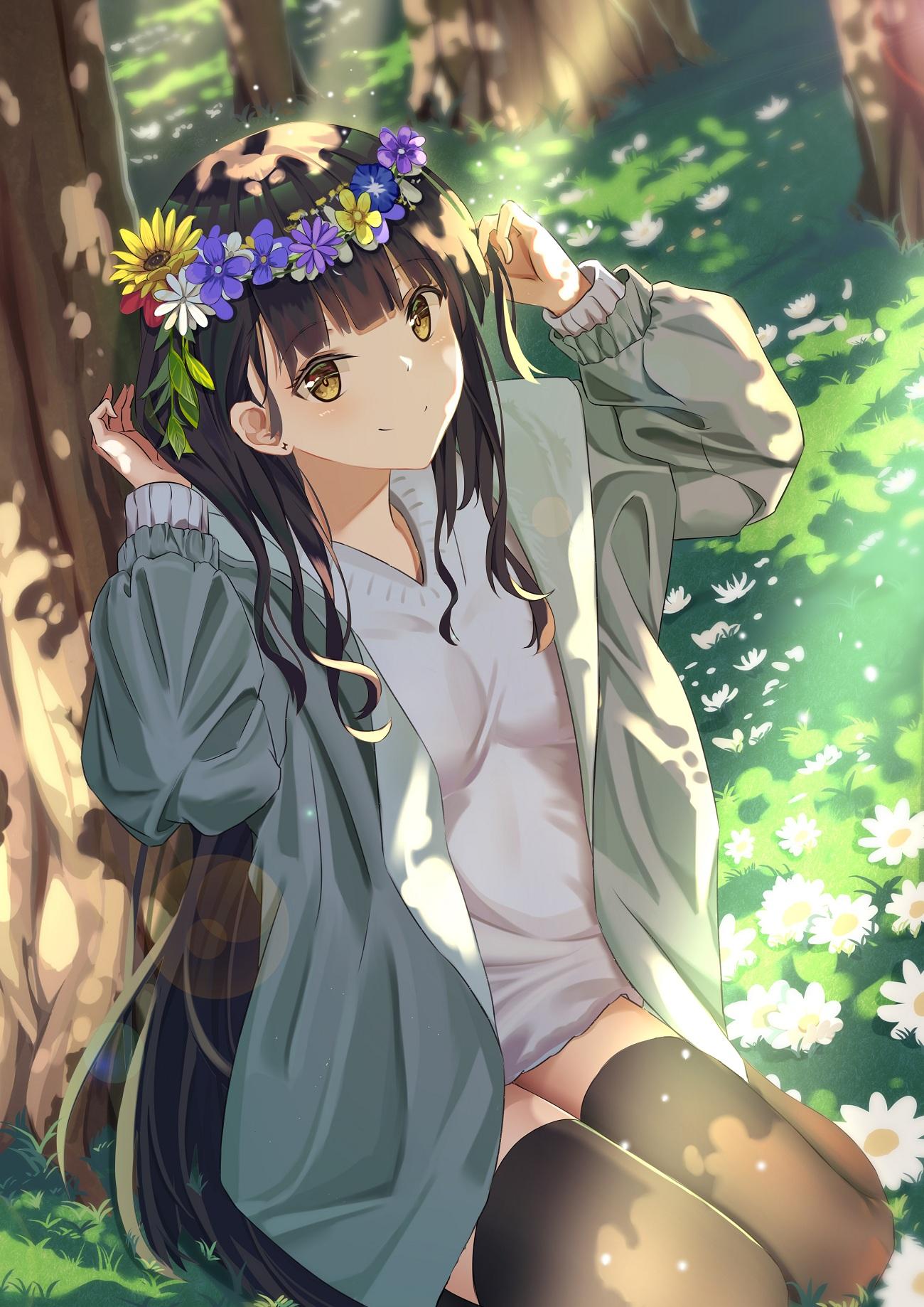 Wallpaper : anime girls, original characters, flower crown ...