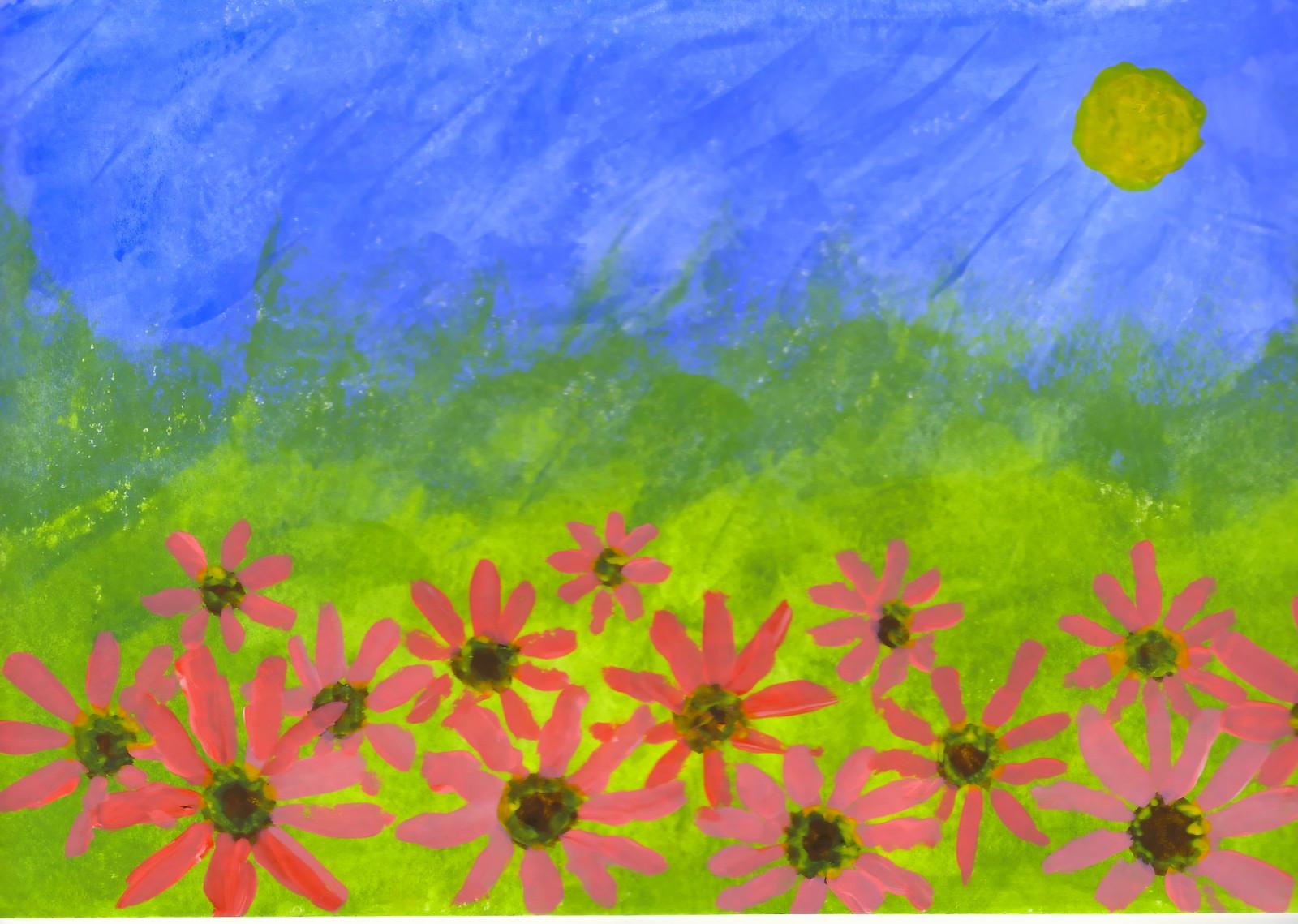 Fond D Ecran Dessin La Peinture Herbe Ciel Champ Fleur