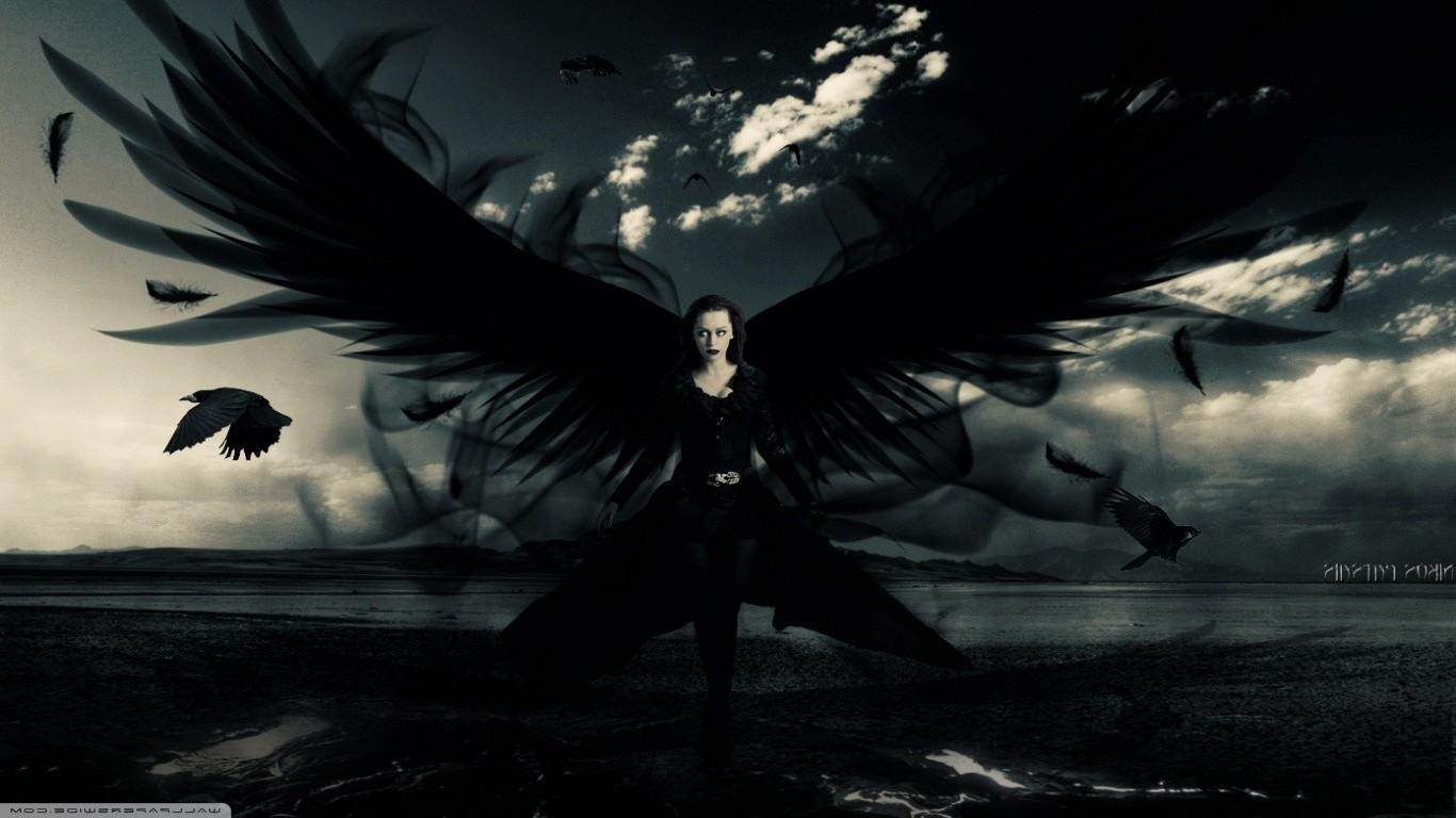 デスクトップ壁紙 鳥 モノクロ 翼 写真操作 悪魔 神話 真夜中