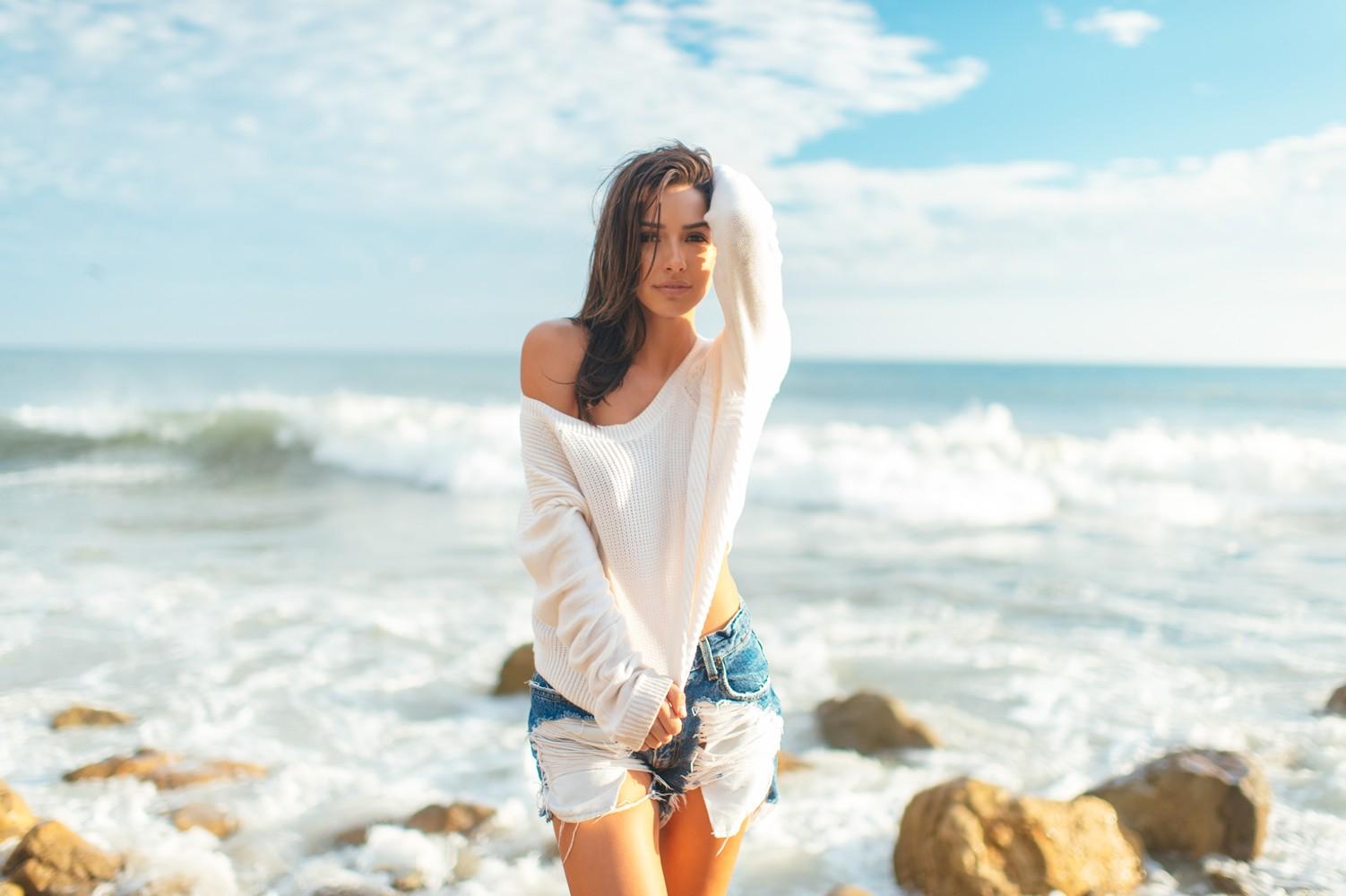 Wallpaper : women outdoors, model, sea, brunette