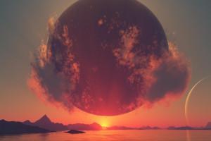 Wallpaper : sunlight, digital art, sunset, sea, sunrise