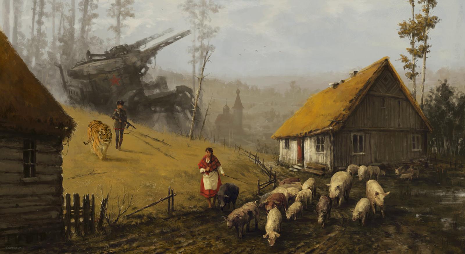 Masaüstü Boyama Asker Kadınlar Kaplan Köy Ev Hayvanlar
