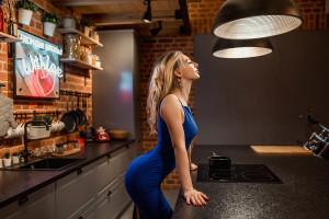 Wallpaper Women Blonde Blue Dress High Heels