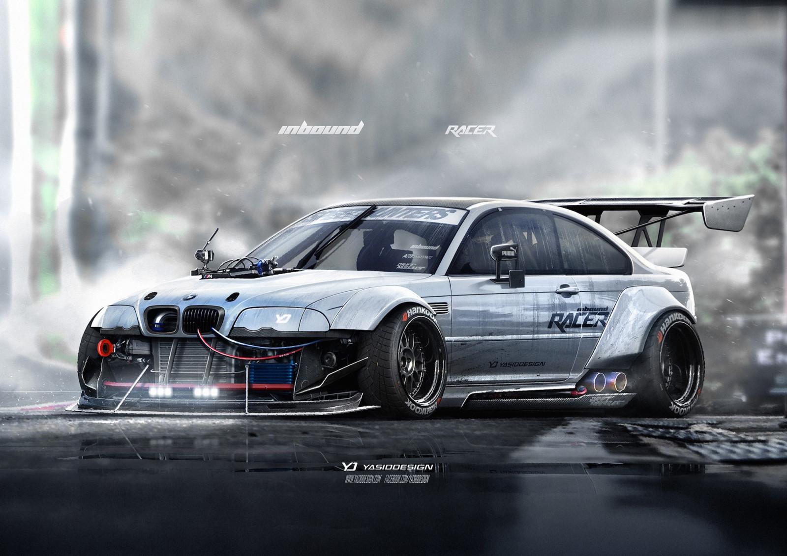 wallpaper race cars render artwork drifting sports car bmw m3 e46 bmw e46 performance. Black Bedroom Furniture Sets. Home Design Ideas
