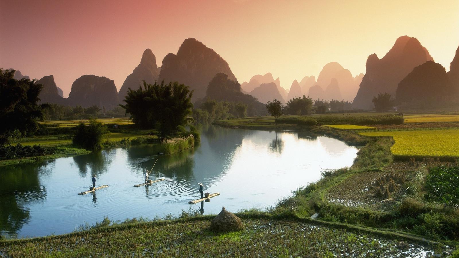 Fond d'écran : 1920x1080 px, Asie, bateaux, champ, forêt, colline, paysage, Hommes, Montagne, la ...