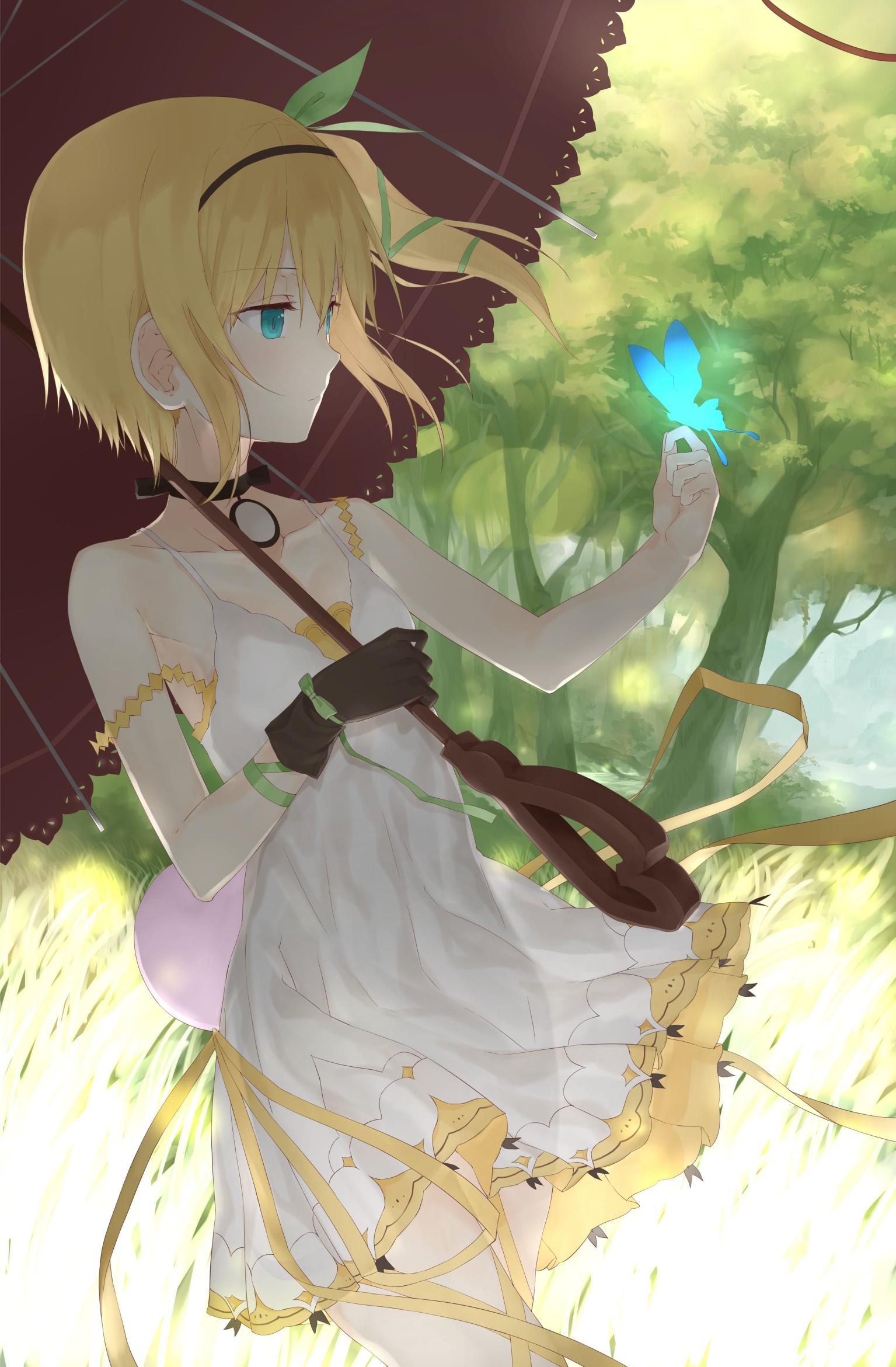 Wallpaper Trees Illustration Blonde Anime Girls Blue Eyes