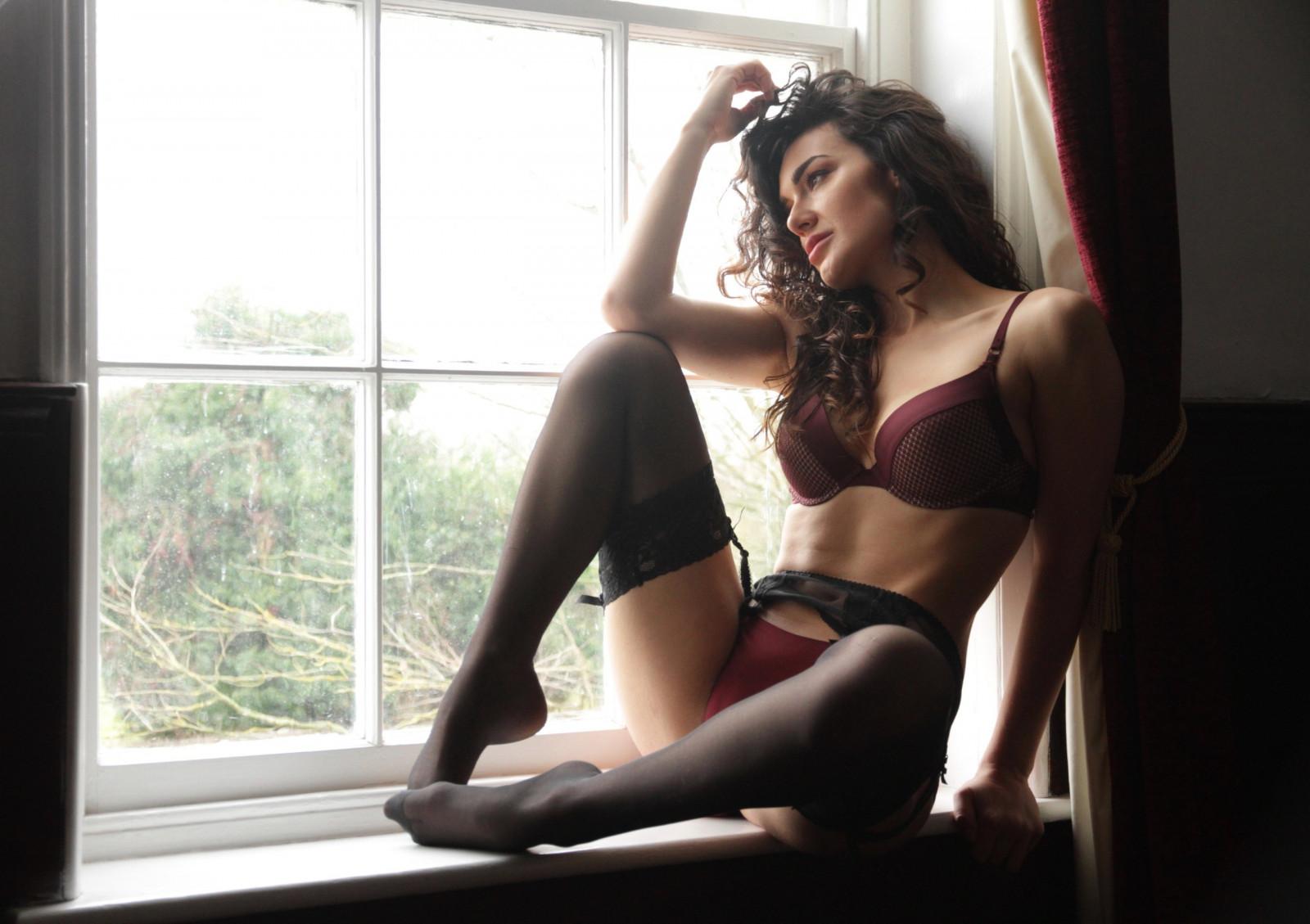 Wallpaper  Women, Window, Long Hair, Sitting, Stockings -3196