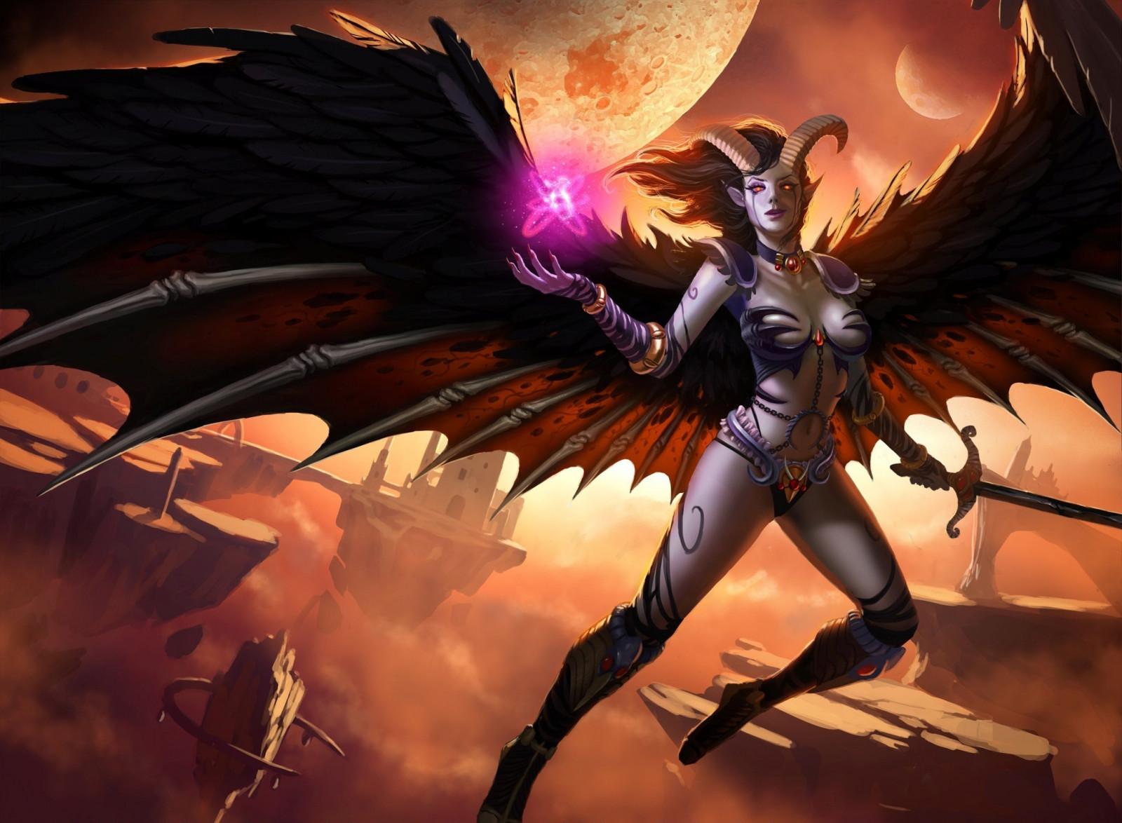 Wallpaper Illustration Fantasy Art Anime Wings Magic