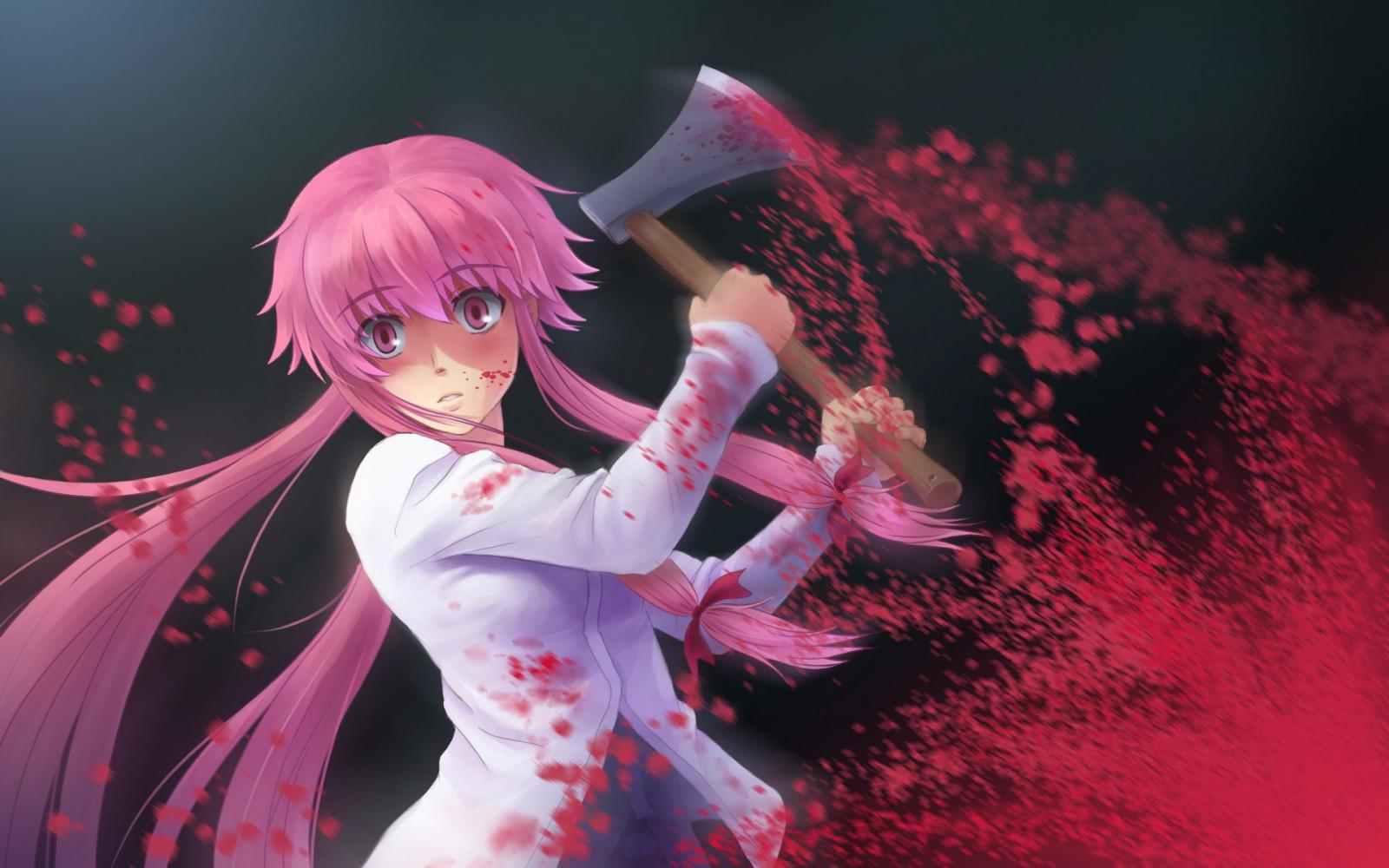 anime, anime girls, red, blood, axes, Mirai Nikki, Gasai Yuno, yandere, Blood anime