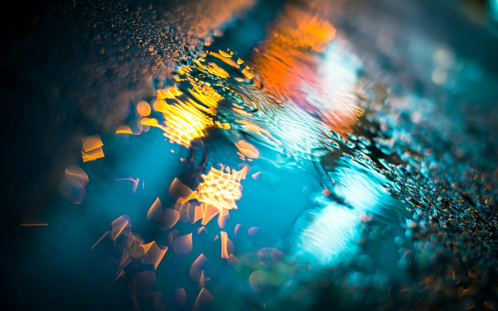 slunečnímu záření noc voda odraz fotografování modrý Pod vodou bokeh louže přízemní chodníky světlo barva počítač tapeta makro fotografie