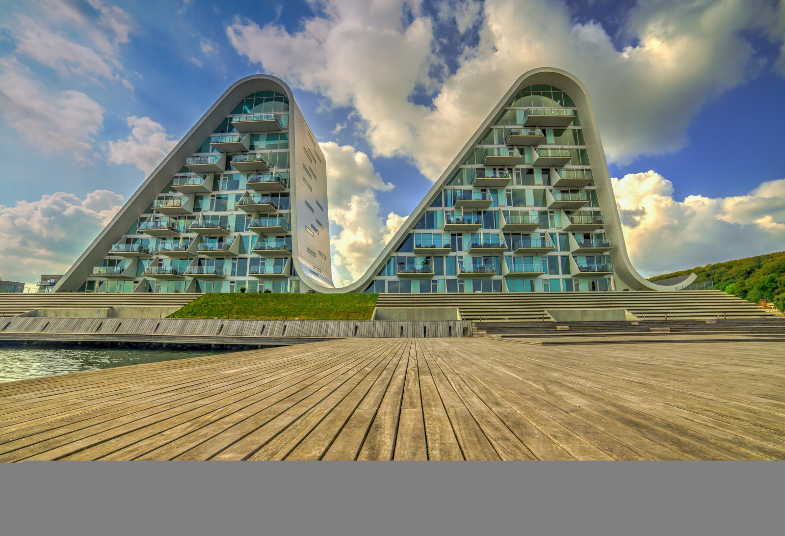 배경 화면 : 건축물, 현대, 덴마크, 항구 전면, HDR, 아파트, 베일, 물결, B lgen, 헤닝 라르센 건축가, 삼양 14 3000x2048 - - 684624 ...