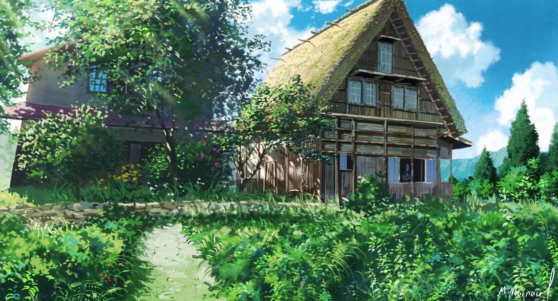 Wunderbar Bäume Landschaft Garten Gebäude Gras Himmel Wolken Haus Dorf Erholungsort  Niemand Hütte Hinterhof Immobilien Garten Zuhause
