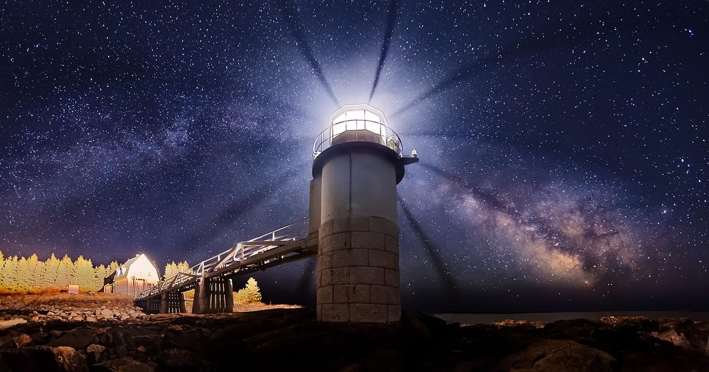 panorama noite espaço Exposição longa torre via Láctea farol noite estrelada atmosfera universo astronomia Maine Estrela teatro Captura de tela espaço sideral Objeto astronômico